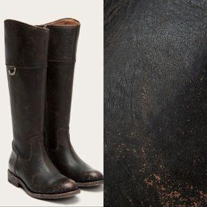Frye Black Distressed Leather Jayden D Ring Boots